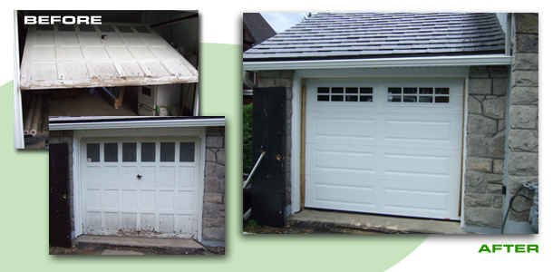 Garage door replacement | before and after